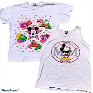 2 vtg Disney Mickey Mouse tees 80s/90s collectible